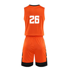 Cool Orange Color Basketball Sports Clothes For Men Sleeveless All Seasons